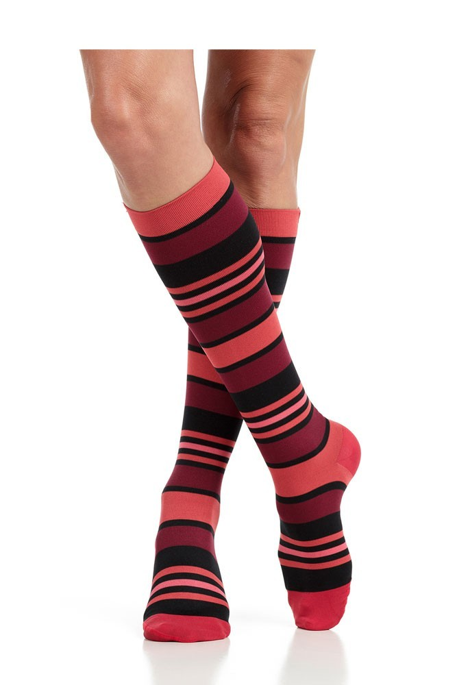 Vim & Vigr 20-30 mmHg Women's Stylish Compression Socks - Nylon (Coral & Black Fun Stripes)