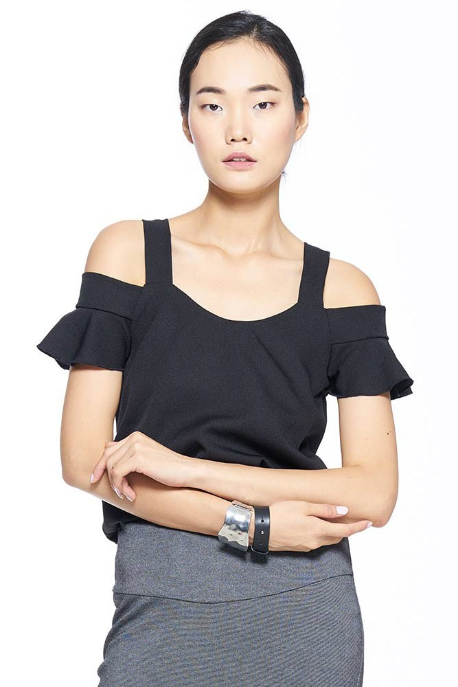Cold Shoulder Crepe Nursing Blouse (Black)
