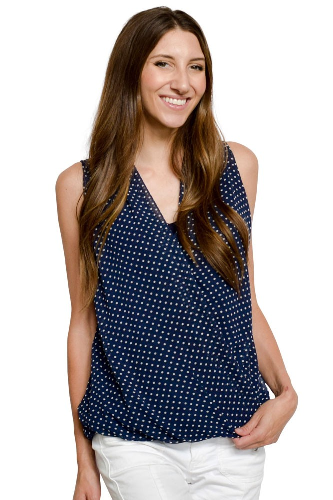 Sylvie Chiffon Dotted Nursing Blouson (Navy and Cream Dot)