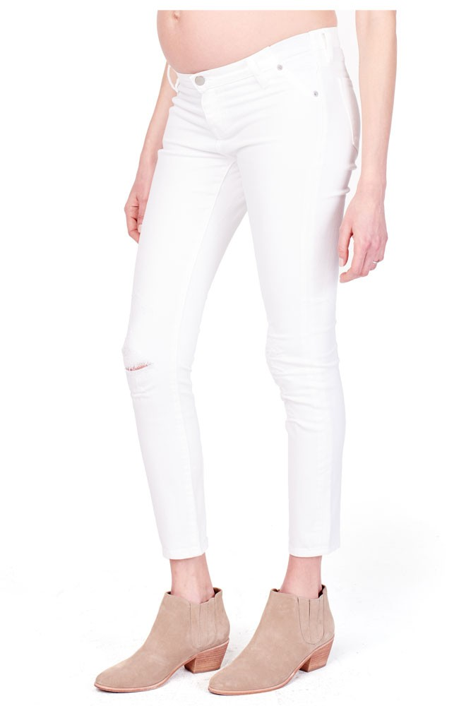 Ingrid & Isabel Sasha Skinny Maternity Jean with Insert Panel (White)