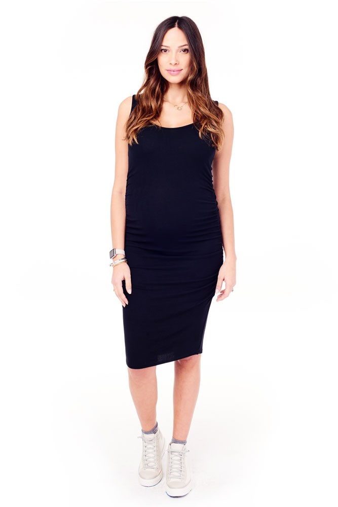 Ingrid & Isabel Side Shirred Rib Midi Maternity Dress (Black)