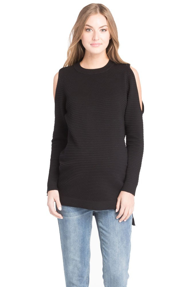 Stella Cold Shoulder Ribbed Maternity Sweater (Black)