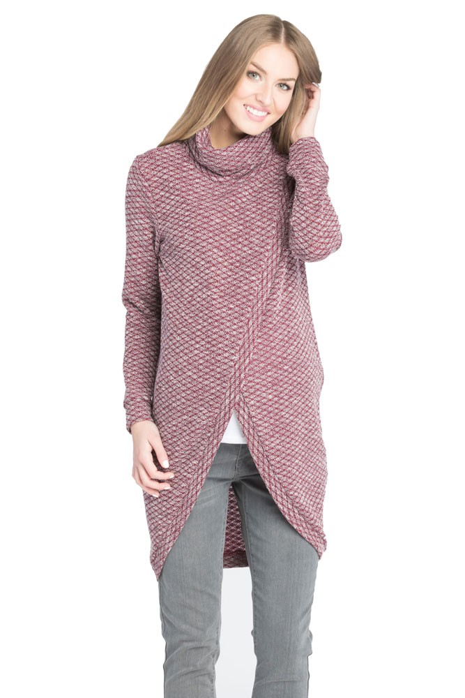 Kayla Maternity & Nursing Sweater Tunic (Burgundy)