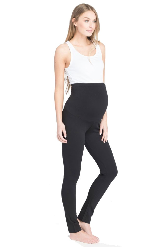 Lilac Ponte Over Bellly Maternity Legging (Black)