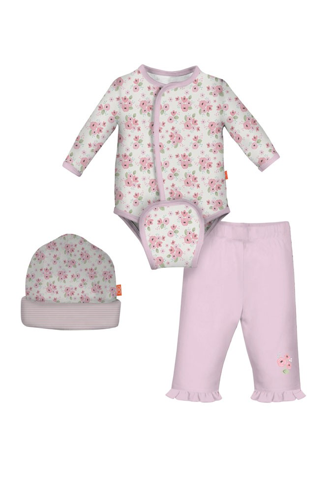Magnificent Baby Magnetic Me™ 3-piece Burrito Baby Girl Bodysuit Set (Kensington Floral)