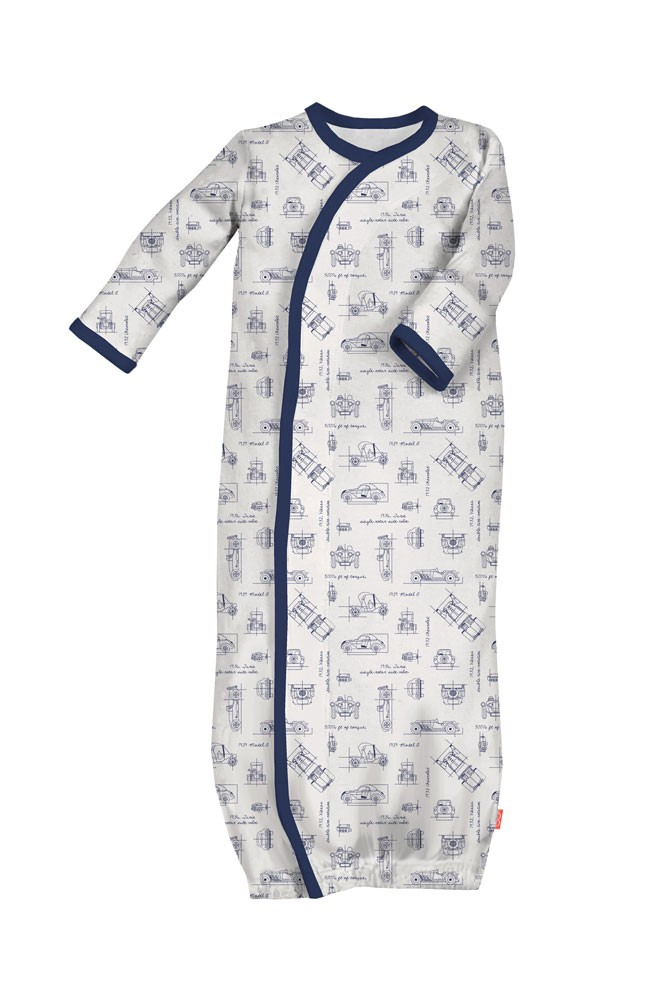 Magnificent Baby Magnetic Me™ Baby Boy Gown (Transportation Blue Print)