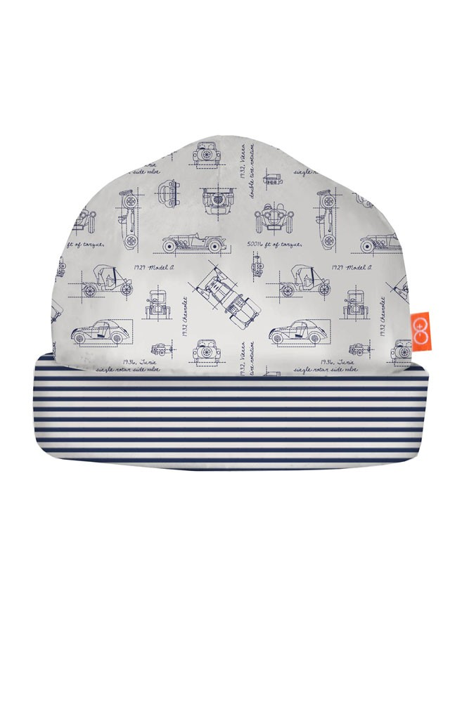 Magnificent Baby Magnetic Me™ Baby Boy Reversible Hat (Transportation Blue Print)