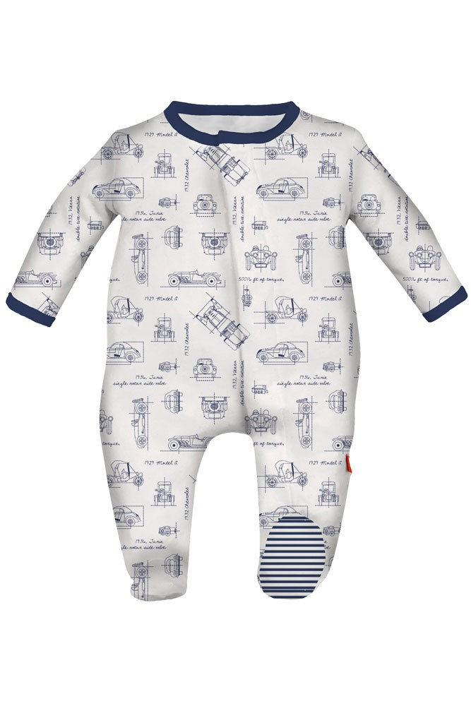 Magnificent Baby Magnetic Me™ Baby Boy Footie (Transportation Blue Print)