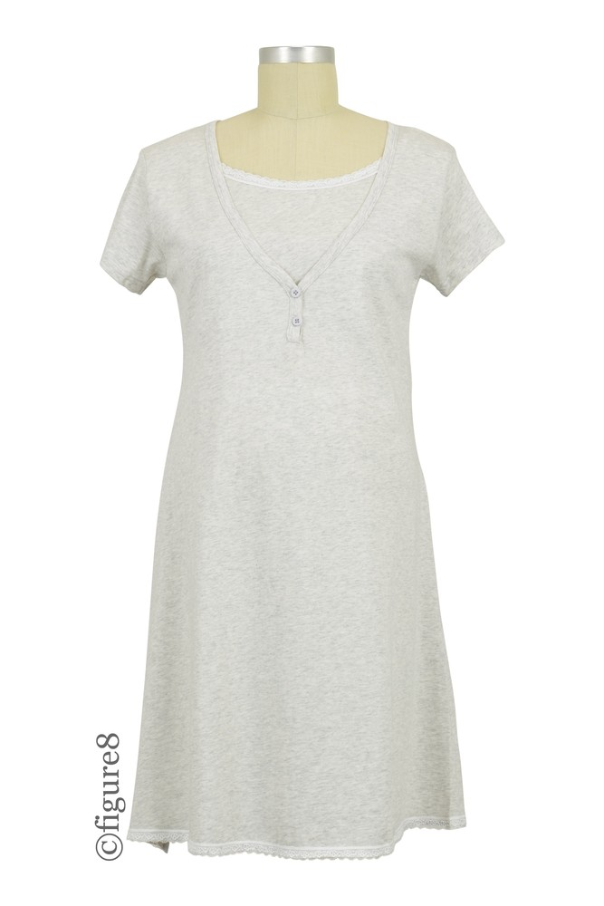Spring Maternity Jacklyn Maternity & Nursing Short Sleeve Cotton Night Gown (Heather Grey)