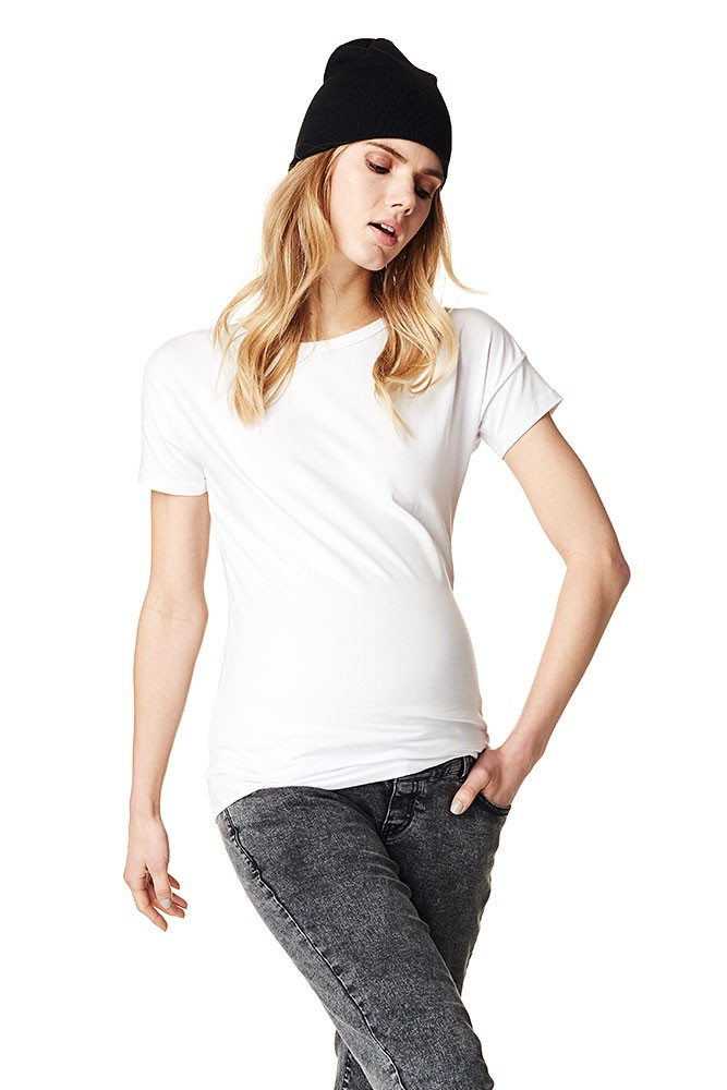 Sarah Short Sleeve Cotton Basic Maternity Tee In White By