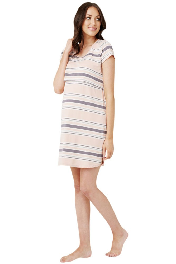 Ripe Taylor Nursing Nightie (Chalk Pink Stripe)