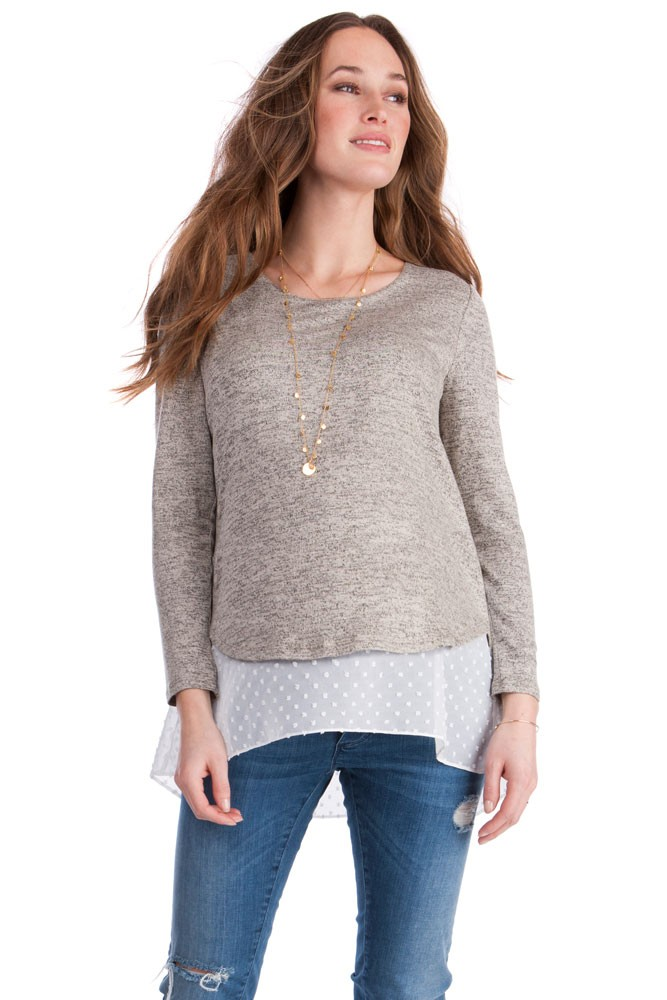Seraphine Anthea Layered Maternity & Nursing Sweater (Sand/White)