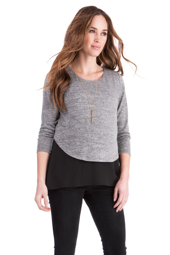 Seraphine Felice Maternity & Nursing Lightweight Layered Sweater (Grey/Black)