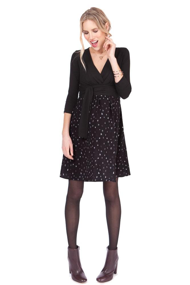 1196969265858 Seraphine Loveday Heart Print Maternity   Nursing Dress in Black Print