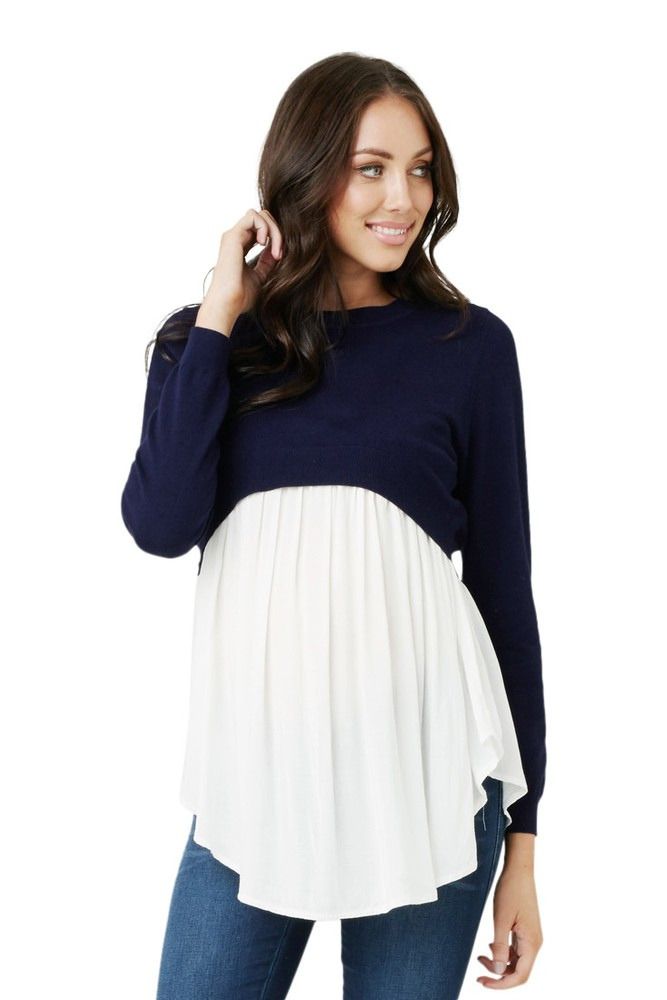 Adriana Babydoll Maternity & Nursing Sweater (Navy)