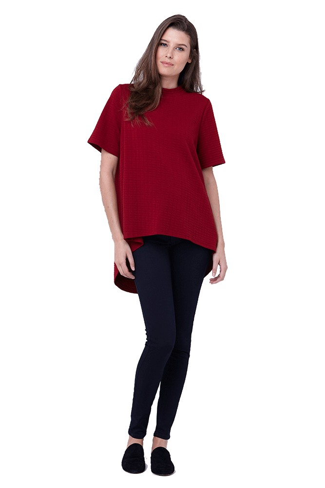 2dd4c8aad Mon Cherie Textured Swing Maternity Top in Crimson by Ripe Maternity