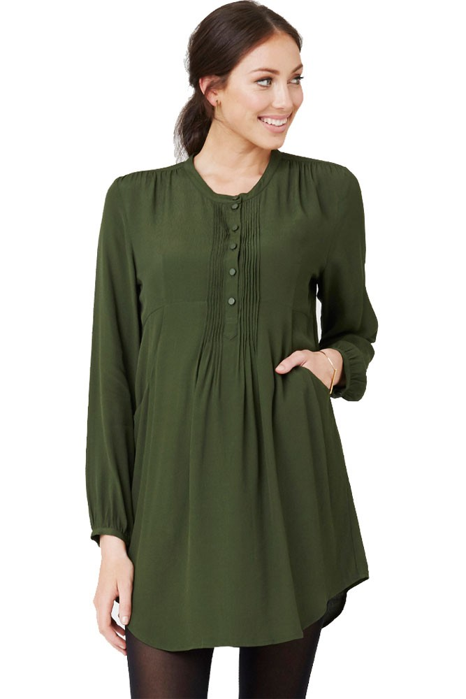 ed431df61fd Robyn Pintuck Maternity Tunic in Cypress by Ripe Maternity