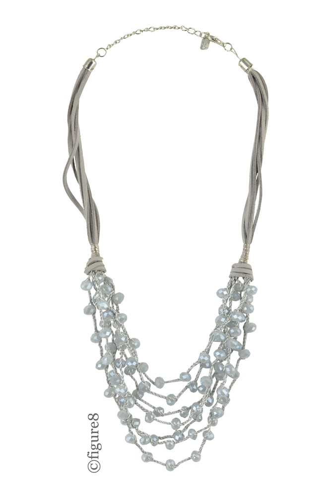 Grey Rope Necklace with Layered Beading (Grey)