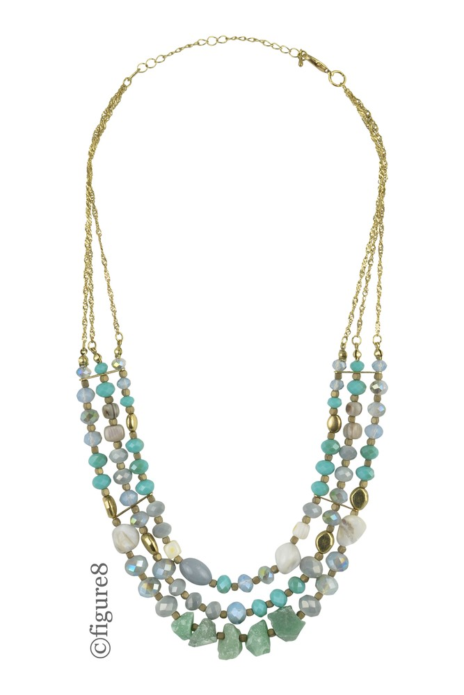 Gold Chain & Mult-Layered Beaded Necklace (Gold/Blue)
