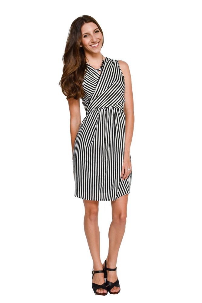 Mel Woven Wrap Nursing Dress (Black & White Stripes)