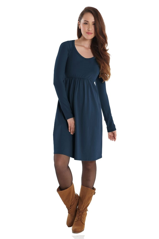 Avery Organic Must-Have Long Sleeve Nursing Dress by Mothers en Vogue (Mood Indigo)