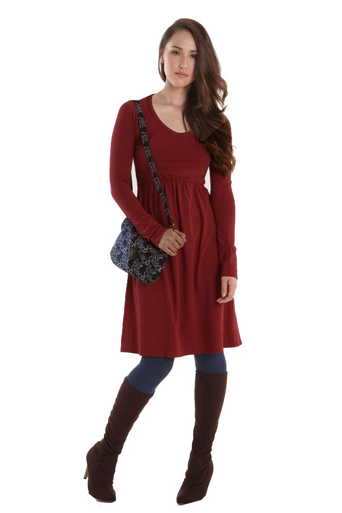 Avery Organic Must-Have Long Sleeve Nursing Dress (Dark Red)