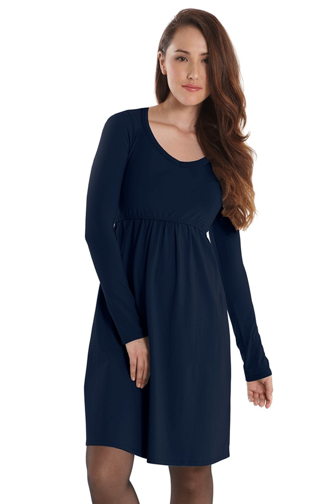 Avery Organic Must-Have Long Sleeve Nursing Dress (India Ink)