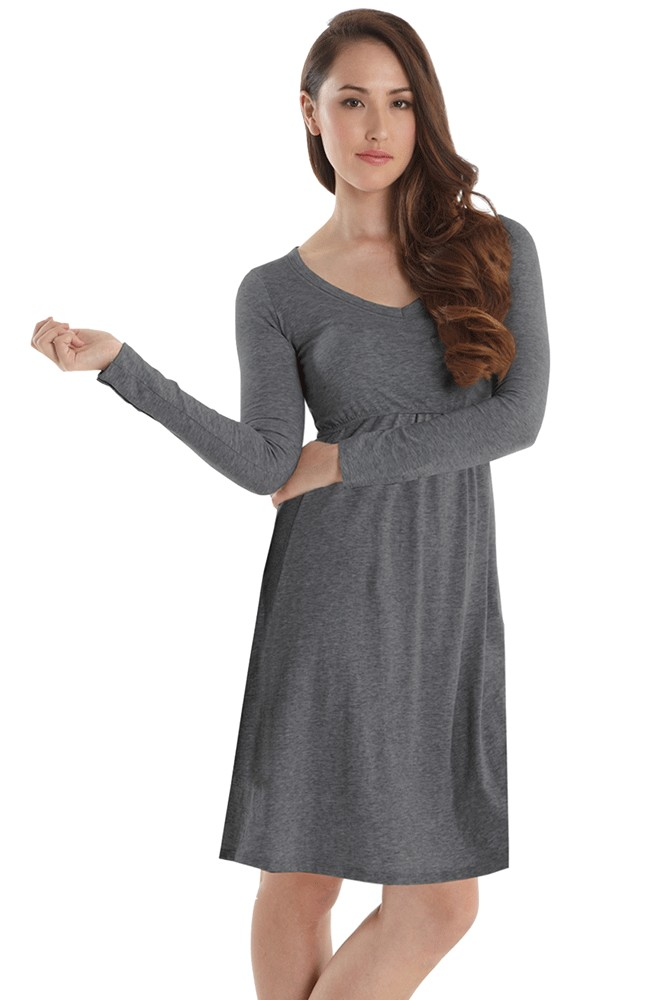 Avery Organic Must-Have Long Sleeve Nursing Dress (Heather Charcoal)
