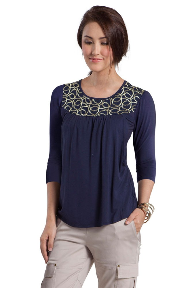 Mothers en Vogue Tresor 3/4 Sleeve Maternity & Nursing Top (Navy)