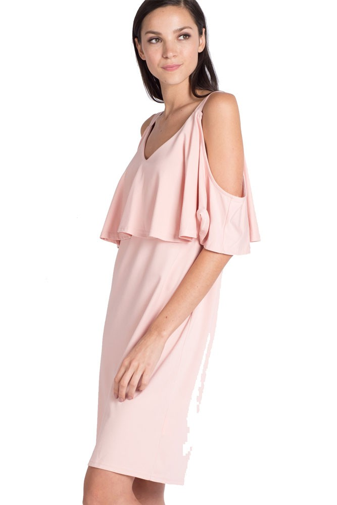 ad815613fdd147 Penelope Lift Up Maternity   Nursing Dress in Pink by Mothercot
