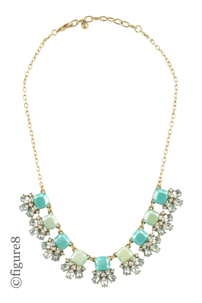 Beaded Necklace with Shiny Faux Diamonds (Shades of Green)