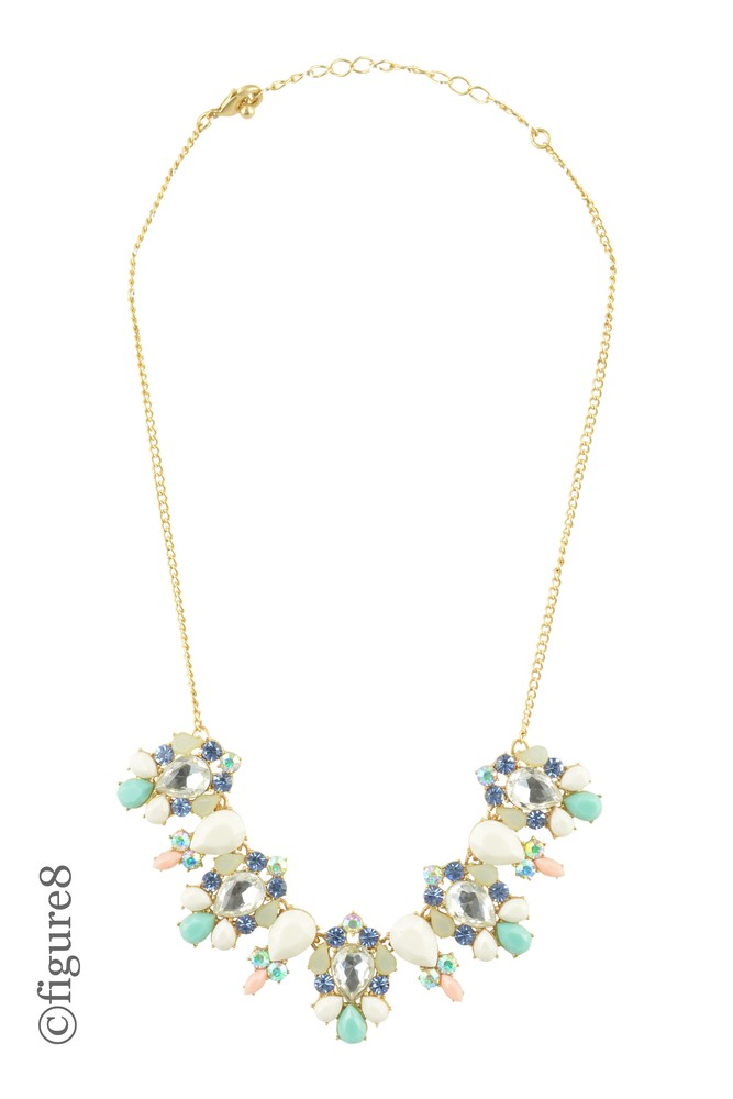 Pastel Jeweled Statement Necklace (Green & Pink)