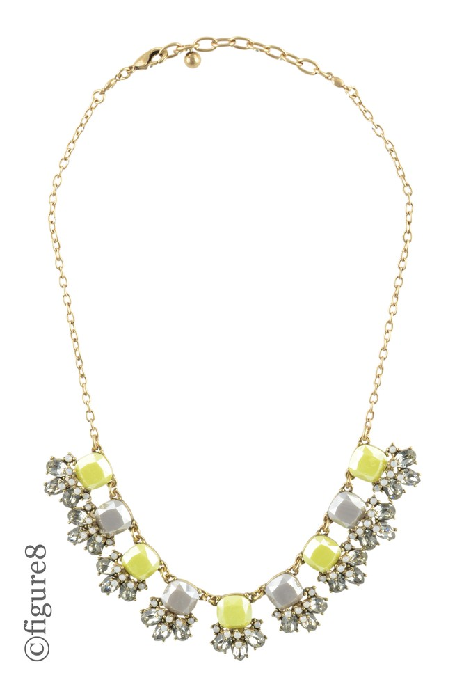 Yellow & Grey Beaded Statement Necklace (Yellow & grey)