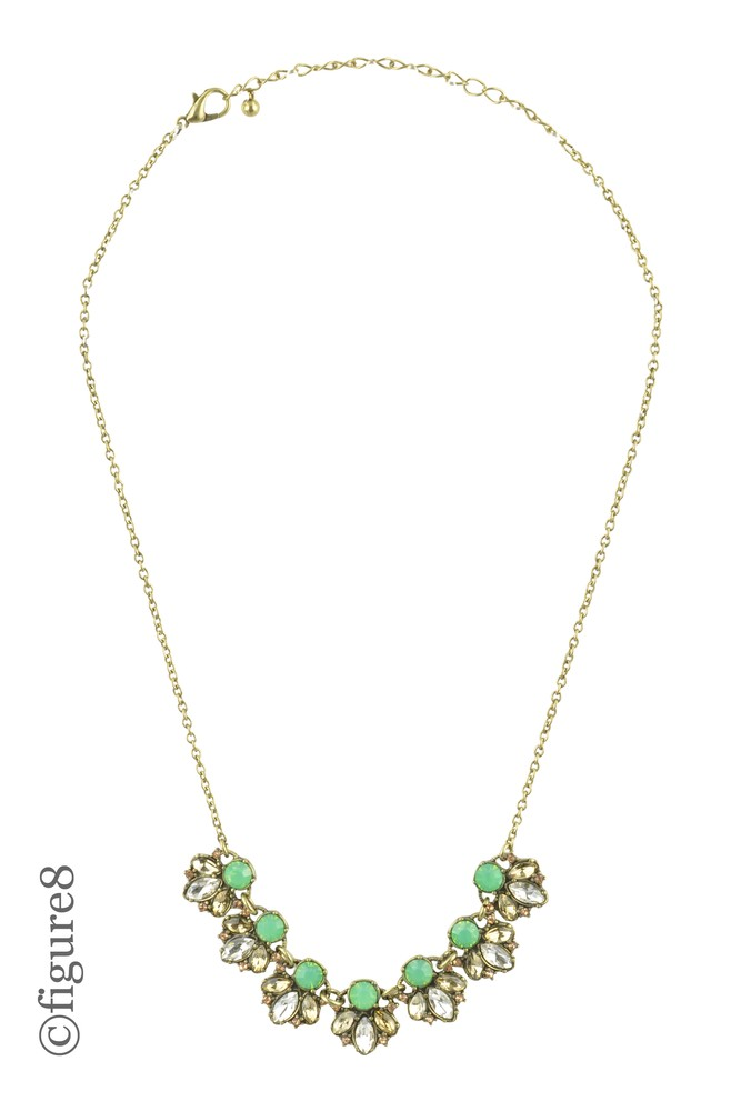 Green Beeded Necklace with Faux Diamonds (Green w/ Shiny Accents)