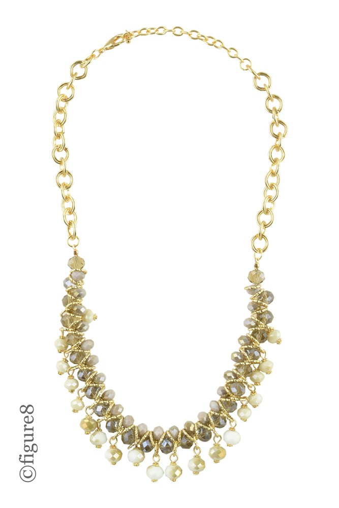Multi-beaded Gold Mini Bib Necklace (Grey & White & Gold)