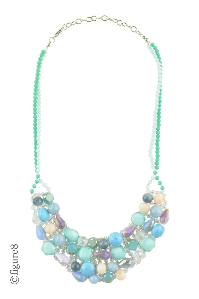 Mermaid Blue Beaded Bib Necklace (Shades of Blue)