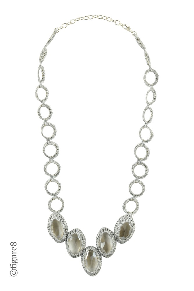 Silver Rope Necklace with Faux Jewels (Grey Rope)