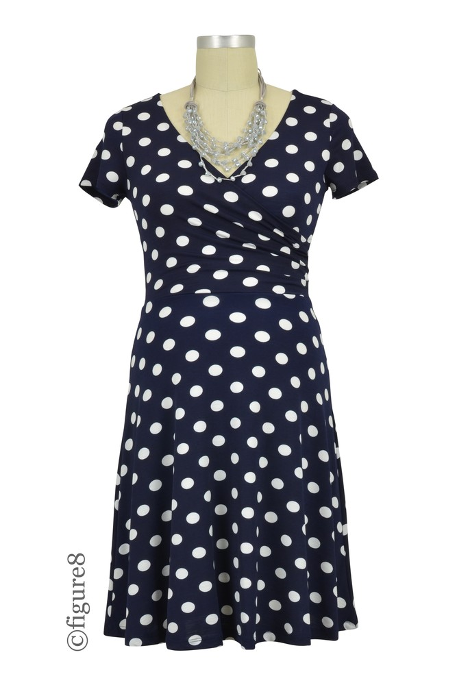 Minnie Polka Dotted Nursing Friendly Dress (Navy)