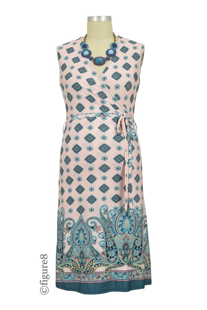 Nellie Border Print Nursing Friendly Wrap Dress (Pink- Jade)