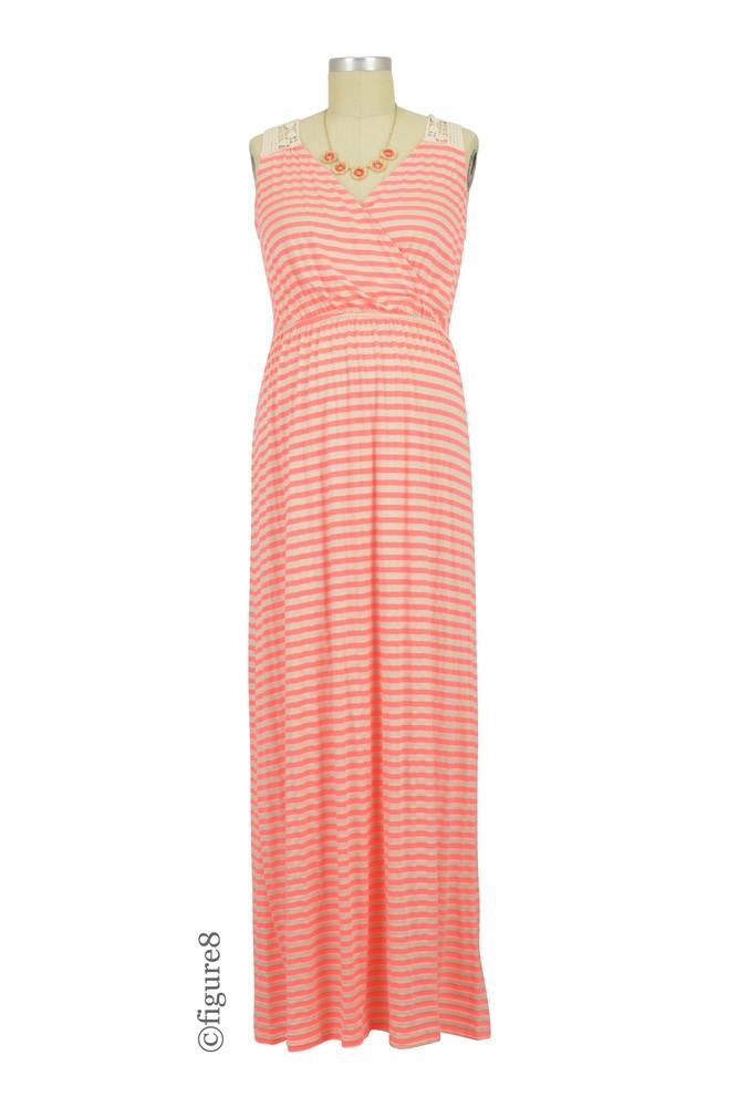 86a3efdd4f2c9 Sabrina Stripes Drop Waist Nursing Friendly Maxi Dress in Coral Stripes by  Elly Kiara