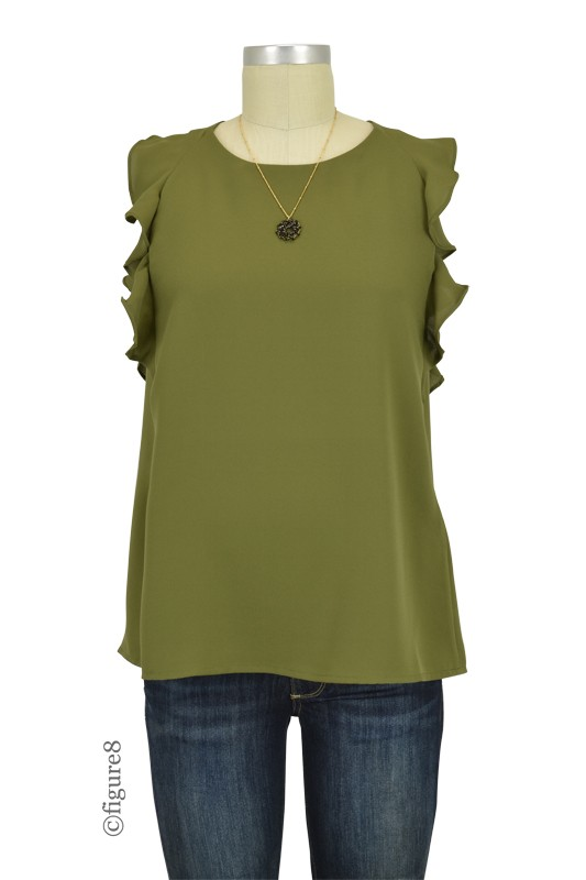 Clarity Flutter Sleeve Woven Nursing Top (Olive)