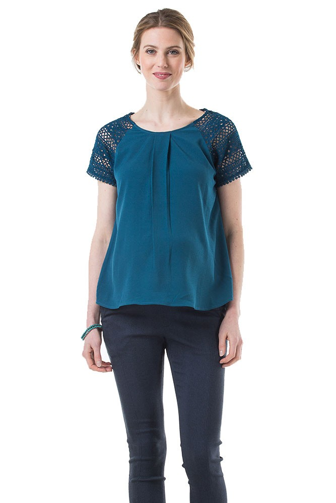 Clementina Crochet Lace Sleeve Nursing Top (Teal)