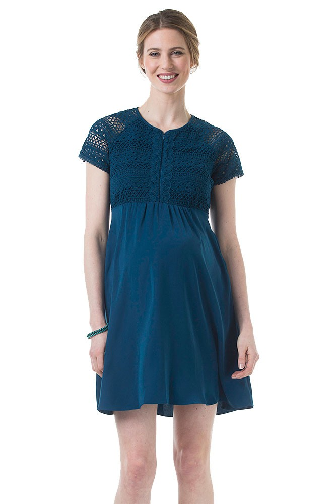 Cleora Open Back Crochet Lace Maternity & Nursing Dress (Teal)