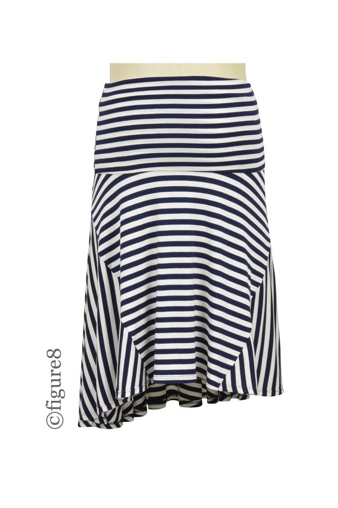 Cotton Glam Striped Maternity Skirt In Navy Amp White Stripe