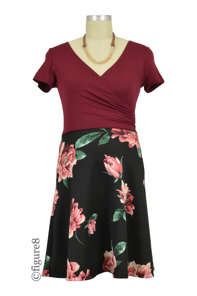 Ashley Floral Scuba Knit  A-Line Short Sleeve Dress (Burgundy Floral)