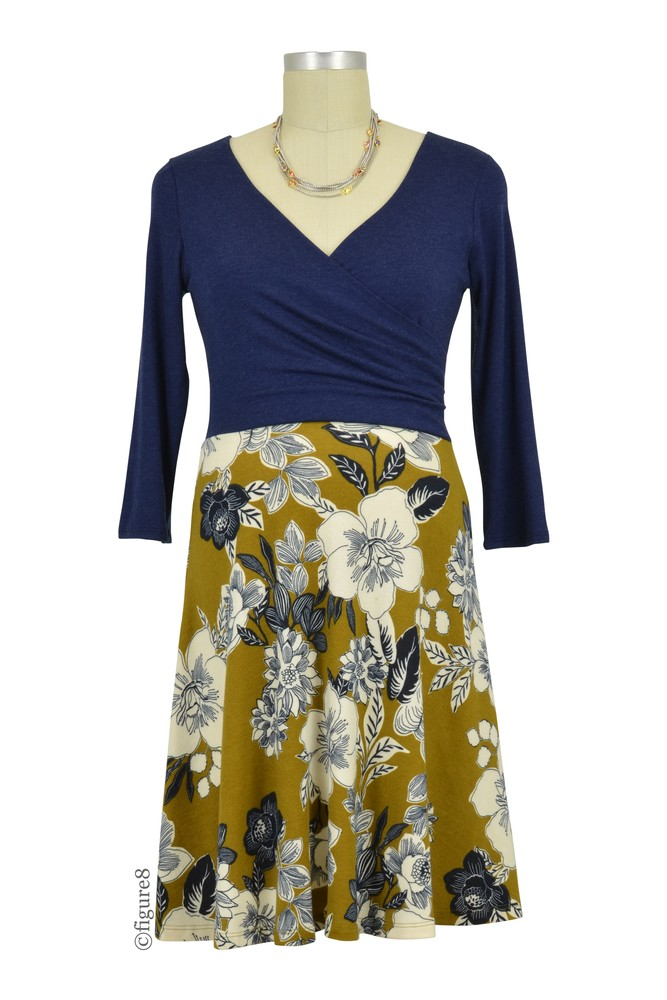 Sophia 3/4 Sleeve Nursing Friendly Dress (Navy Mustard Floral)
