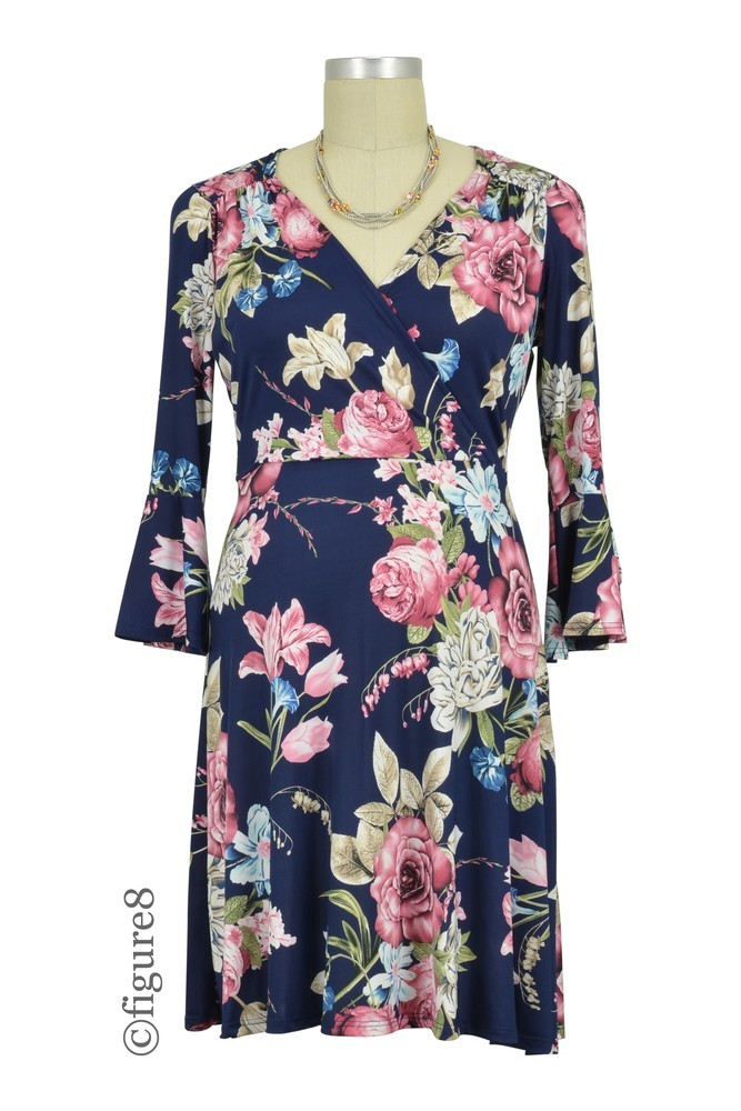 Mira Flare Sleeve Floral Print Dress (Navy Pink Floral)