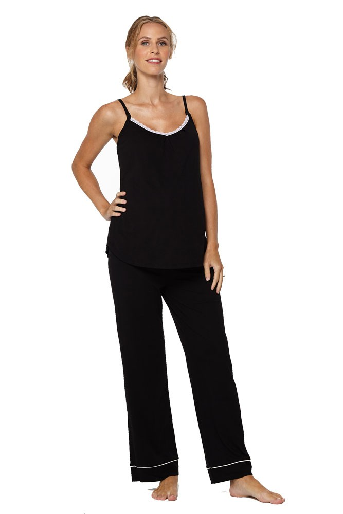 Belabumbum Lounge Chic Maternity & Nursing 3-pc. Pajama & Robe Set (Black)