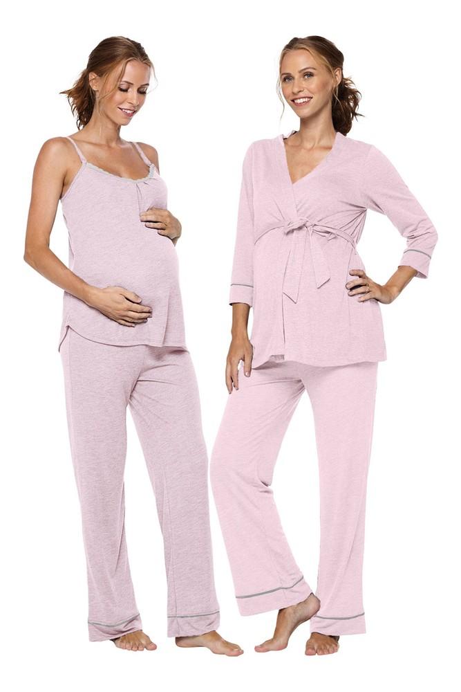 Belabumbum Lounge Chic Maternity Nursing 3 Pc Pajama Robe Set In Pink Marle