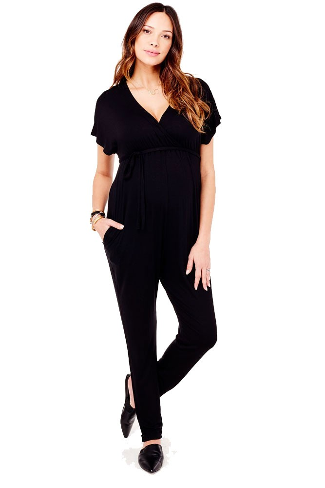 Ingrid Isabel Crossover Maternity Nursing Friendly Jumpsuit In Black